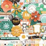 New - Back Into Routine - Digital Scrapbook Ingredients